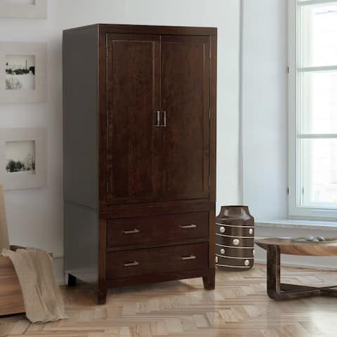 Furniture of America Kema Modern Espresso Solid Wood 2-drawer Armoire