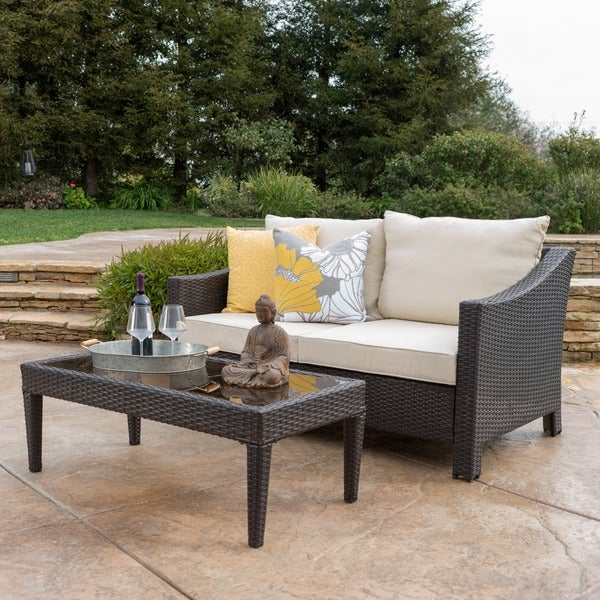Antibes Outdoor 2 Piece Wicker Sofa Set With Cushions By Christopher Knight  Home