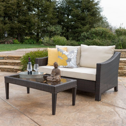 Antibes Outdoor 2-piece Wicker Sofa Set with Cushions by Christopher Knight Home