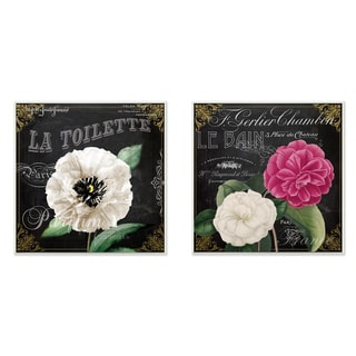 'La Toilette Carnations Parisienne' 2-piece Wall Plaque Art Set