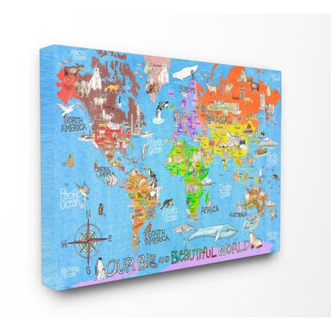 'Our Big Beautiful World Map ' Stretched Canvas Wall Art
