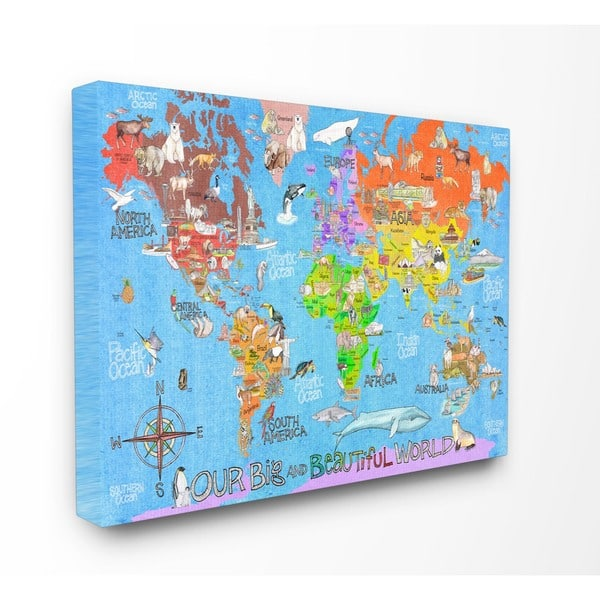 'Our Big Beautiful World Map ' Stretched Canvas Wall Art Big Print Map Of The World on map of the entire world, big map print world in, map of the whole world, detail map of whole world, map of pre-k posters of the world, printable map of whole world, binder paper size printable map of the world, big print united states map,