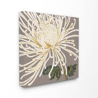 'Graphic White Chrysanthemum' Stretched Canvas Wall Art