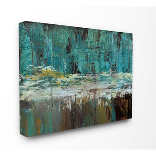 'Tranquil Deepwater Reflections Abstract' Stretched Canvas Wall Art