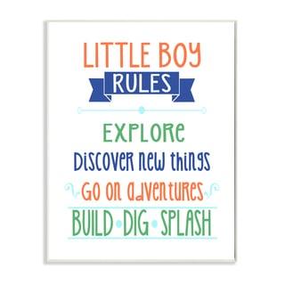 'Little Boy Rules - Build Dig Splash' Wall Plaque Art