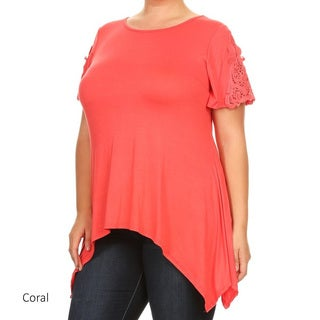 Women's Rayon and Spandex Plus-size Solid Crochet Lace Panel Tunic
