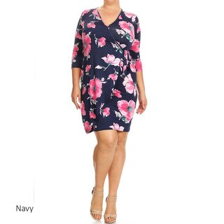 Women's Rayon and Spandex Plus-size Floral Wrapped Sheath Dress