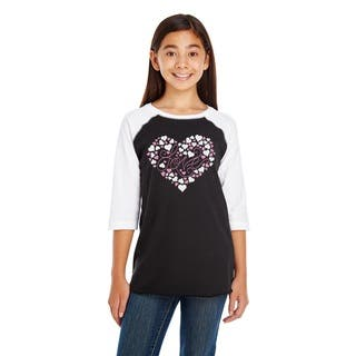 Girl's Black and White Cotton Long Sleeve 'Love' Tee|https://ak1.ostkcdn.com/images/products/14283188/P20868052.jpg?impolicy=medium