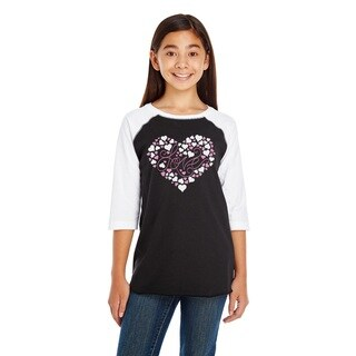 Girl's Black and White Cotton Long Sleeve 'Love' Tee