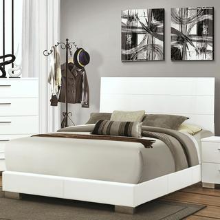 Mid Century Modern Designe White Upholstered Bed