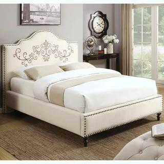 Embroidered Design Upholstered Bed with Nailhead Trim