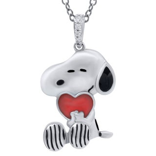 Sterling Silver Enamel and Diamond Accent Peanuts Snoopy Pendant