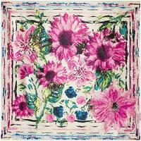 """Modern Art Designer Inspired Pink Flowers Silk Touch Scarf 36"""" x 36"""""""
