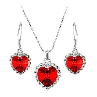 Heart Shaped Necklace Set Crystal Rhinestone Silver Earring and Necklace Set