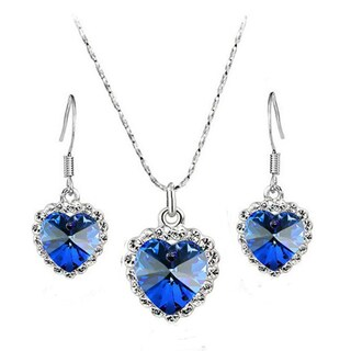 Silver Crystal Heart Shaped Pendant Necklace Set