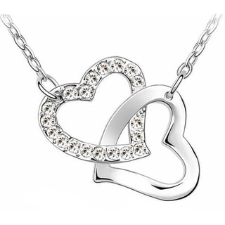 Double Heart Shaped Pendant Necklace Crystals