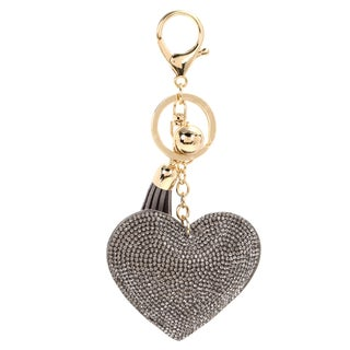 Puffy Heart Shaped Crystal Studded Tassel Key Chain Backpack Pull