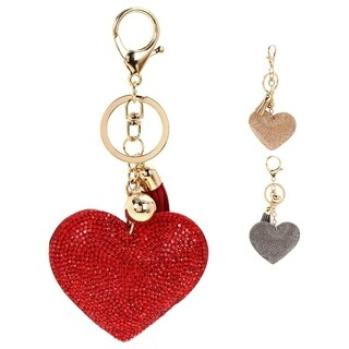 Bling Puffy Heart Studded Rhinestones Puffy Heart Shaped Tassel Charm Key Chain/ Backpack Pull