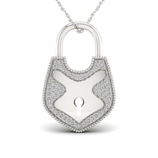 1/6ct TDW Diamond Lock Necklace in Sterling Silver
