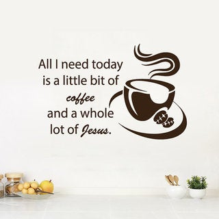 Love Coffee Wall Decals Quote Jesus Kitchen Cafe Coffee Cup Sticker Art Mural Dorm Decor Sticker Decal size 22x26 Color Brown
