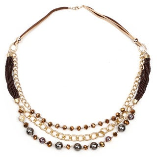 Liliana Bella Goldtone Brown/Grey Multi Strand Necklace - Black