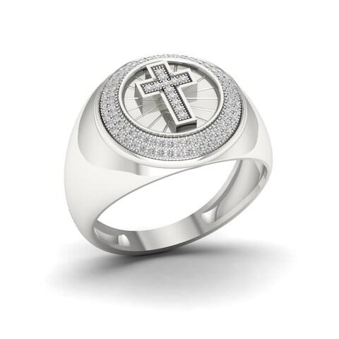 1/3ct TDW Diamond Men's Cross Ring in Sterling Silver - White
