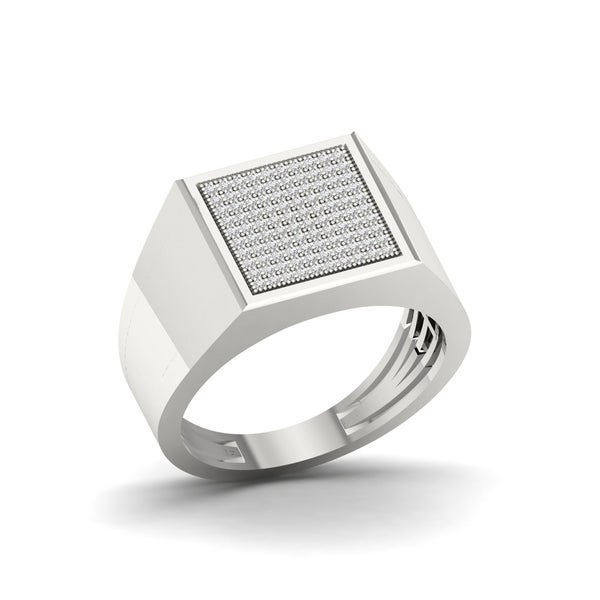 1/3ct TDW Diamond Men's Ring in Sterling Silver - White