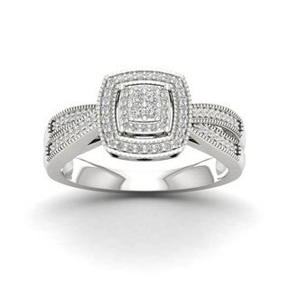 1/4ct TDW Diamond Halo Ring in Sterling Silver