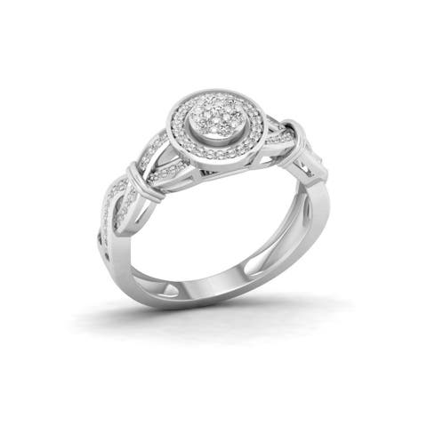 IGI Certified 1/4ct TDW Diamond Engagement Ring in Sterling Silver