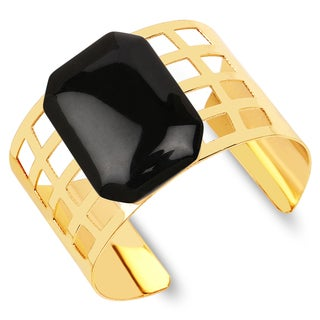 Liliana Bella Goldplated Black Stone Cuff Bracelet