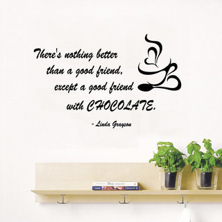 Love Coffee Quote Good Friend with Chocolate Kitchen Art Cafe Home Interior Mural Decor Sticker Decal size 22x30 Color Black