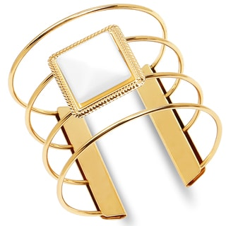 Liliana Bella Women's Goldplated Ring-style Cuff Bracelet with Mother of Pearl Accent