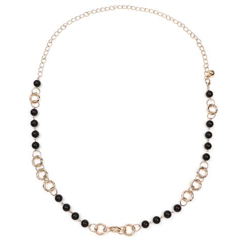 Liliana Bella Goldplated Black Beaded Boho-style Necklace