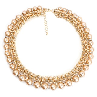 Liliana Bella Goldplated Brown Synthetic Pearl and White Stone Choker Necklace