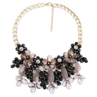 Liliana Bella Women's Black/Brown Glass Stone Handmade Bib Necklace