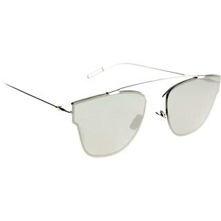 Dior Dior 0204/S 010 T4 Palladium Metal Round Sunglasses Black Mirror Lens