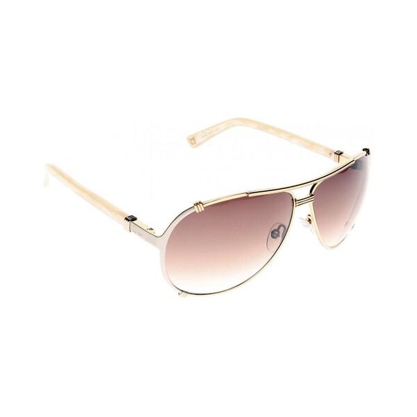 4ec0ba4ddbb0 Shop dior chicago upu rose gold cream metal aviator sunglasses violet  gradient lens free shipping today