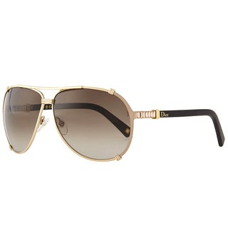 Dior Dior Chicago 2/Strass/S SUT HA Gold Soft Light Brown Metal Aviator Sunglasses Brown Gradient Lens