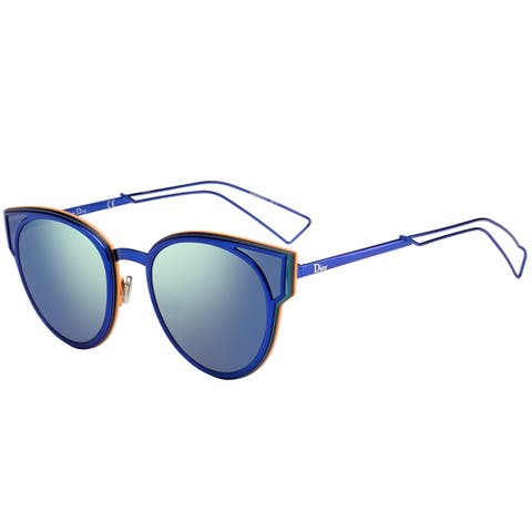 Dior Sculpt/S KN9 T5 Black Blue Shiny Metal Cat-Eye Sunglasses Green Mirror Lens