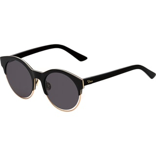 Dior Dior Sideral 1/S J63 Y1 Black Rose Gold Plastic Round Sunglasses Grey Lens