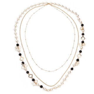 Liliana Bella Women's Goldplated Strand Necklace with White Pearl and Black Glass Stone