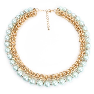Liliana Bella Women's Goldplated Choker Necklace with Sea Green Glass Beads