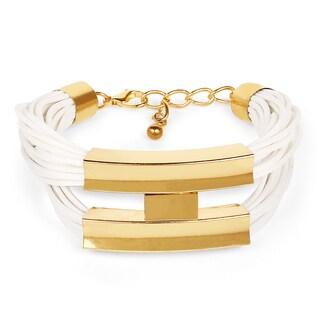 Liliana Bella Men's Goldplated White Wax Cord Handmade Bracelet