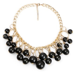 Liliana Bella Women's Goldplated Choker Necklace with Black Glass Beads