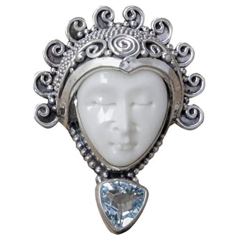 Handmade Sterling Silver Saraswati Face Blue Topaz Ring (Indonesia)