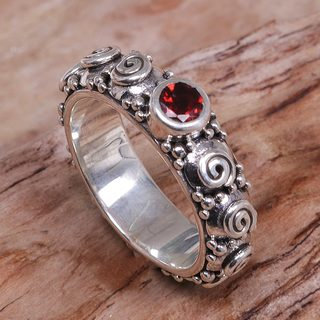 Handmade Sterling Silver 'Swirls of Joy in Red' Garnet Ring (Indonesia)