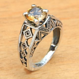 Handcrafted Sterling Silver 'Sun Goddess Temple' Citrine Ring (Indonesia)