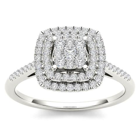 De Couer IGI Certified 14k White Gold 1/3ct TDW Diamond Double Frame Engagement Ring - White H-I