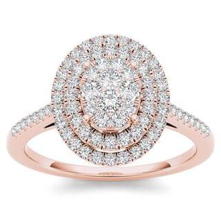 De Couer 14k Rose Gold 1/3ct TDW Diamond Double Frame Engagement Ring