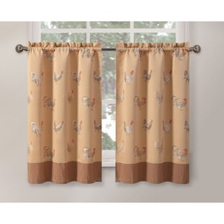 Rooster Gold 45-inch Curtain Tier
